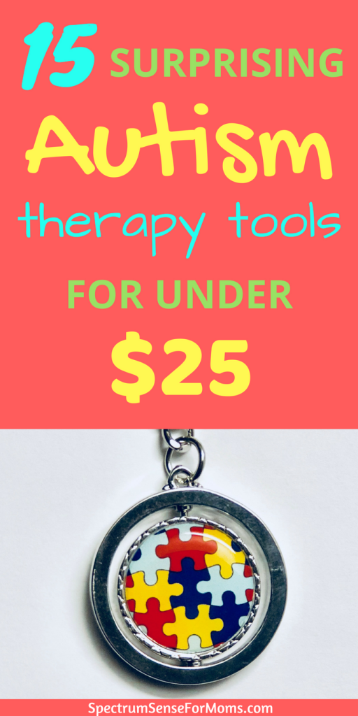 THese are such awesome ideas for cheap autism therapy tools! I never would have guessed that some of these could be useful and I even found a few laying around my house! Great sensory tools and therapy ideas for autism and sensory processing disorder!