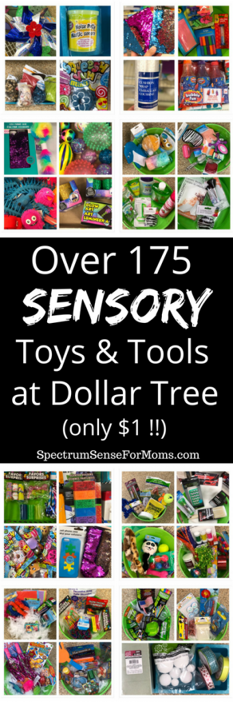 Oh wow! The I had no idea there were this many sensory toys at the Dollar Tree! Items are perfect for calm down bins, fidgeting, and meeting different sensory needs for my kids with autism. I found sensory toys for visual seekers, tactile seekers, and even some deep pressure therapy tools! #dollartree #sensorybins #sensoryplay #autism #senssoryprocessingdisorder