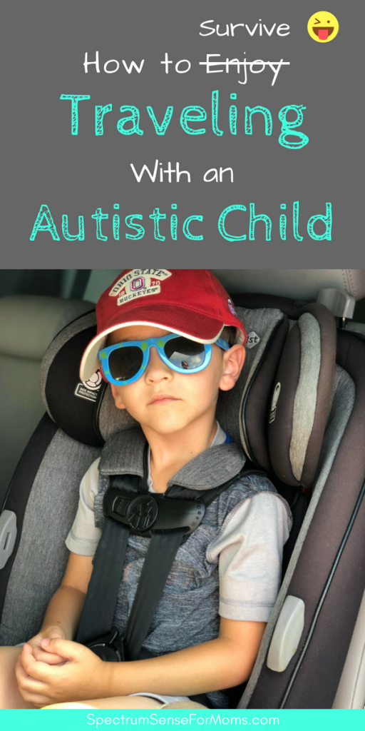 These tips will make traveling with an autistic child much more enjoyable for everyone involved! My kids love these travel activities and travel toys, and the sensory breaks and calming strategies really come in handy! #travelingwithkids #travelingwithautism #travelwithautism #autismtravel #autismtravels #autismtraveltherapy